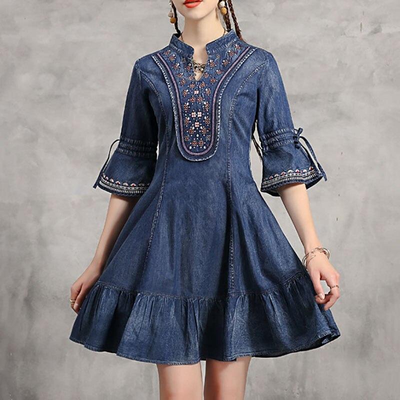 Seebeautiful vintage denim vestido feminino babados bordados v-neck alargamento manga solta outono 2020 nova moda l155