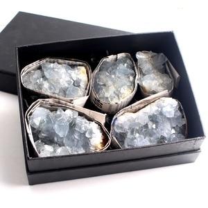 1 Box New Madagascar Natural Rough Celestite Cluster with Box Crystal Druzy Sky Blue Raw Geode Mineral Specimen Home Decor