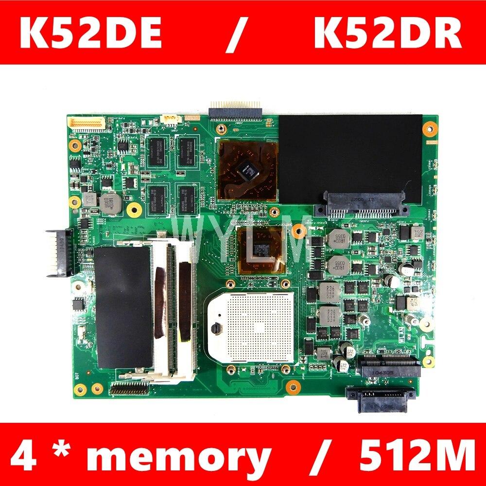 K52DE placa madre para ASUS K52DY A52D K52DE K52D X52D K52DR placa base de computadora portátil K52DR placa base 100% probado envío gratuito