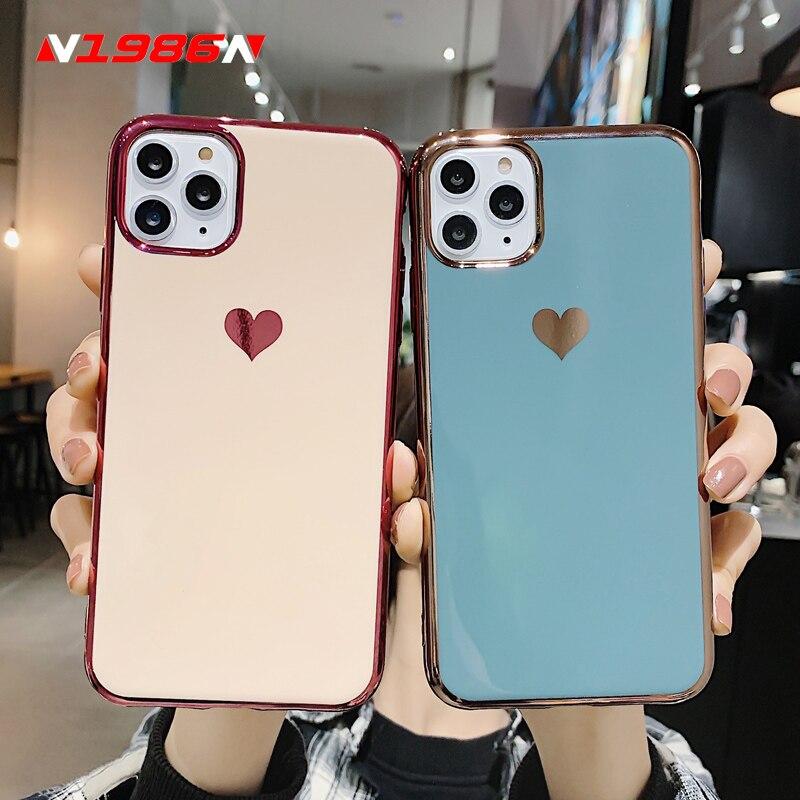 N1986N Pour iPhone 11 Pro X XR XS Max 6 6s 7 8 Plus SE 2020 Placage de luxe Amour Coeur En Silicone Souple Pour iPhone 11 Cas