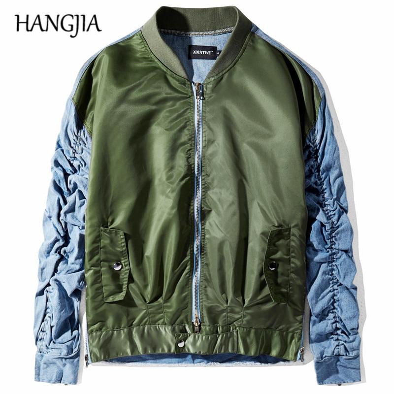 Chaquetas de mezclilla de manga plisada de Hip Hop para hombres chaqueta de mezclilla de bombardero de retales de moda chaqueta de mezclilla todo-fósforo para hombres