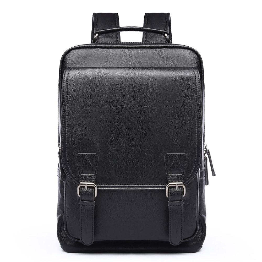 Simple Patchwork Large Capacity Mens Leather Backpack For Travel Casual mochila Men Daypacks Leather Travle Backpack Рюкзаки