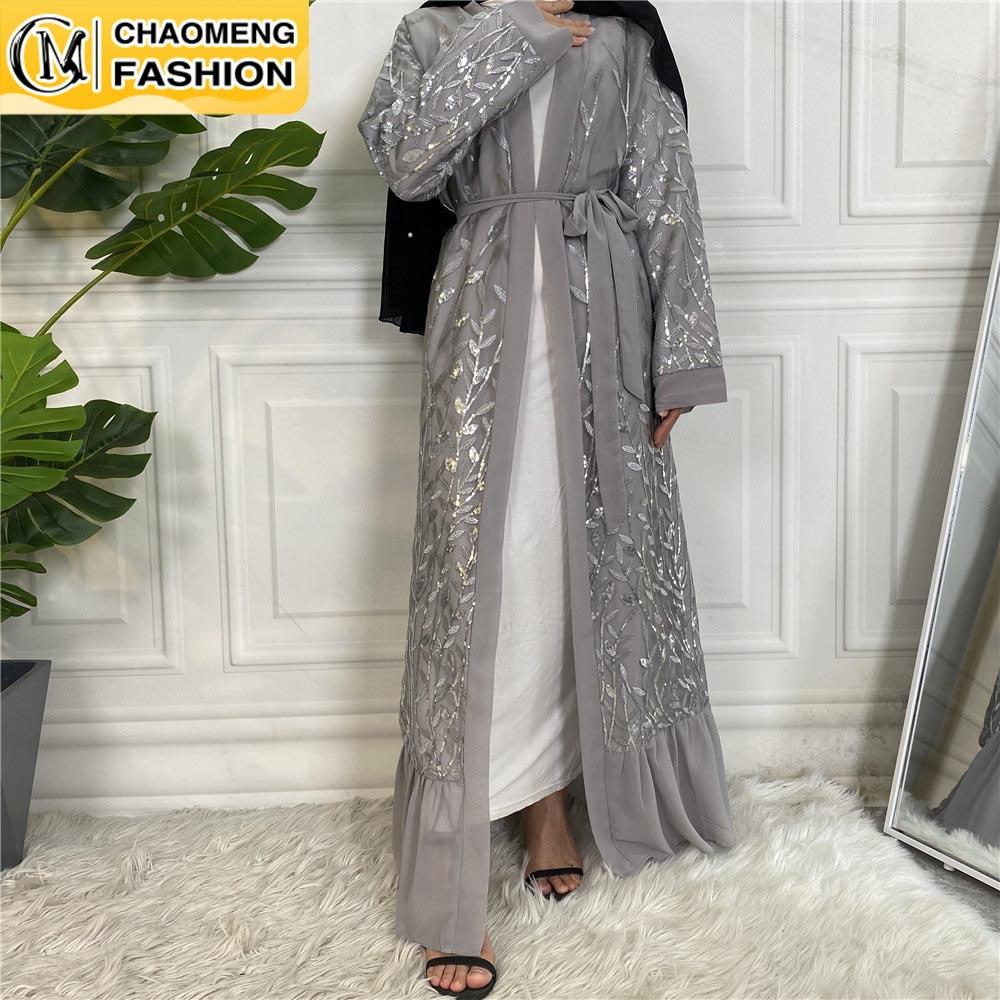 رمضان العربي التطريز الشيفون الحجاب فتح دبي عباية كيمونو مسلم موضة تركيا قفطان المرأة فستان قفطان الملابس الإسلامية