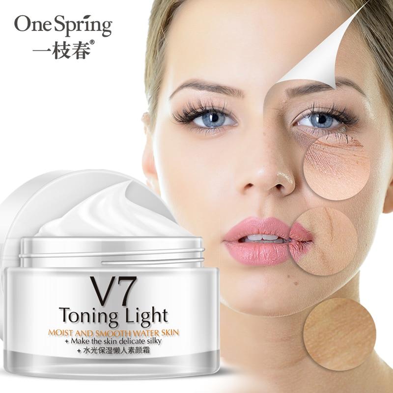 OneSpring V7 ácido hialurónico crema con vitaminas crema de maquillaje hidratante ilumina la piel los poros invisibles nutren la crema facial
