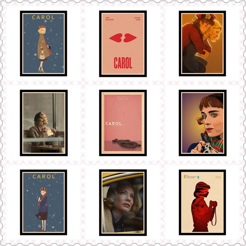 Carol Kate Blanchett Rooney Mara amor afiche decorativo DIY pared lona etiqueta Bar arte carteles de decoración KLEHB02