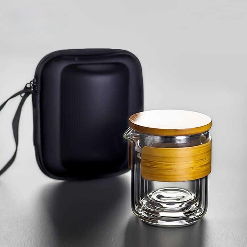 المحمولة الزجاج teبينة مجموعات السفر الشاي زجاجة مياه شرب مع حقيبة في الهواء الطلق الزجاج الشاي كوب ماء الشاي مصفاة الفلتر