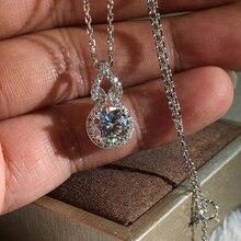 Huitan kolor srebrny olśniewający kryształ cyrkonu kobiety ślub naszyjnik wiszący o-chain grzywny prezent na rocznicę kobiet Trendy biżuteria