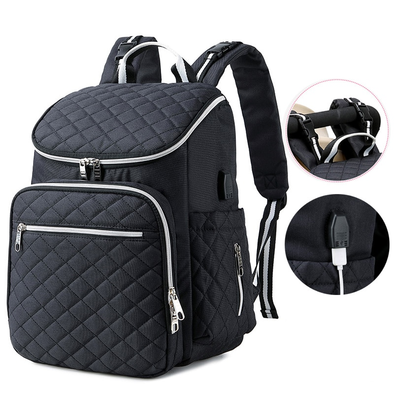 USB Baby Diaper Carrier Bag for Mom Travel Backpack Large Capacity Handbag Waterproof Nappy Bag Kits Mummy Maternity Nursing Bag