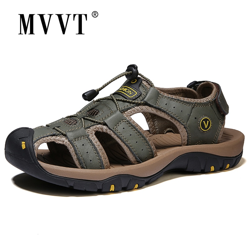 في الهواء الطلق الرجال الصنادل تنفس الصيف حذاء رجالي جلد Sandalias صنادل شاطئ مقاوم للماء وحيد الاحذية