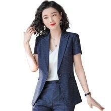 Summer Fashion Ladies Navy Blue Blazer Women Clothes Short Sleeve Jackets Female Elegant Formal Office Work Wear Plus Size 5XL