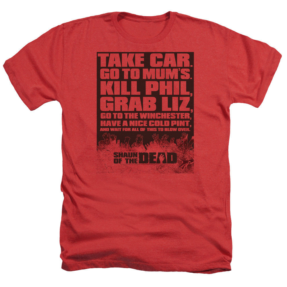 Camisa de algodão de todos os tamanhos de alta qualidade topos camiseta shaun dos mortos filme a fazer lista tomar carro adulto heather