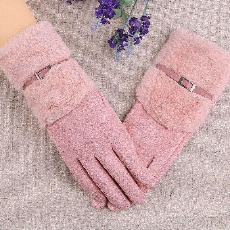 Winter Women Keep Warm Touch Screen Plus Velvet Inside Gloves Plush Wrist Suede Outdoor Cycling Female Elegant Gloves