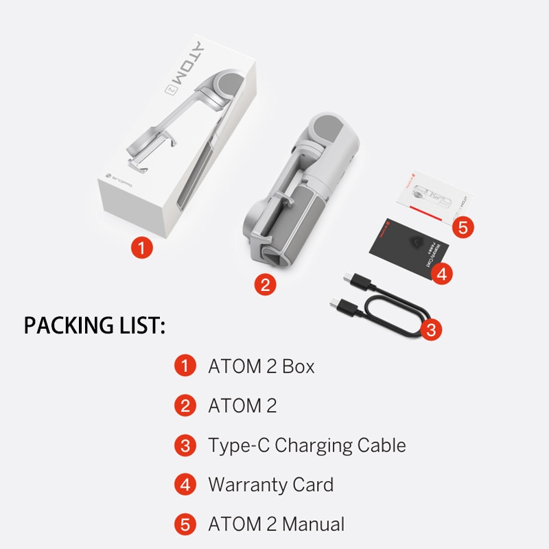 Snoppa ATOM2 3-Axis Gimbal Handheld Stabilizer Wireless Bluetooth Selfie Stick Tripod Phone Anti-Shake ATOM 2 For iPhone Huawei