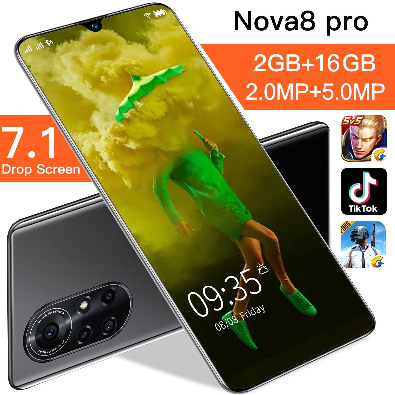 Global Version Nova 8 Pro 7.1 Inch HD Screen Smartphone 4800mAh 2GB RAM 16GB ROM Cellphone Unlocked Dual Sim Mobilephone Celular