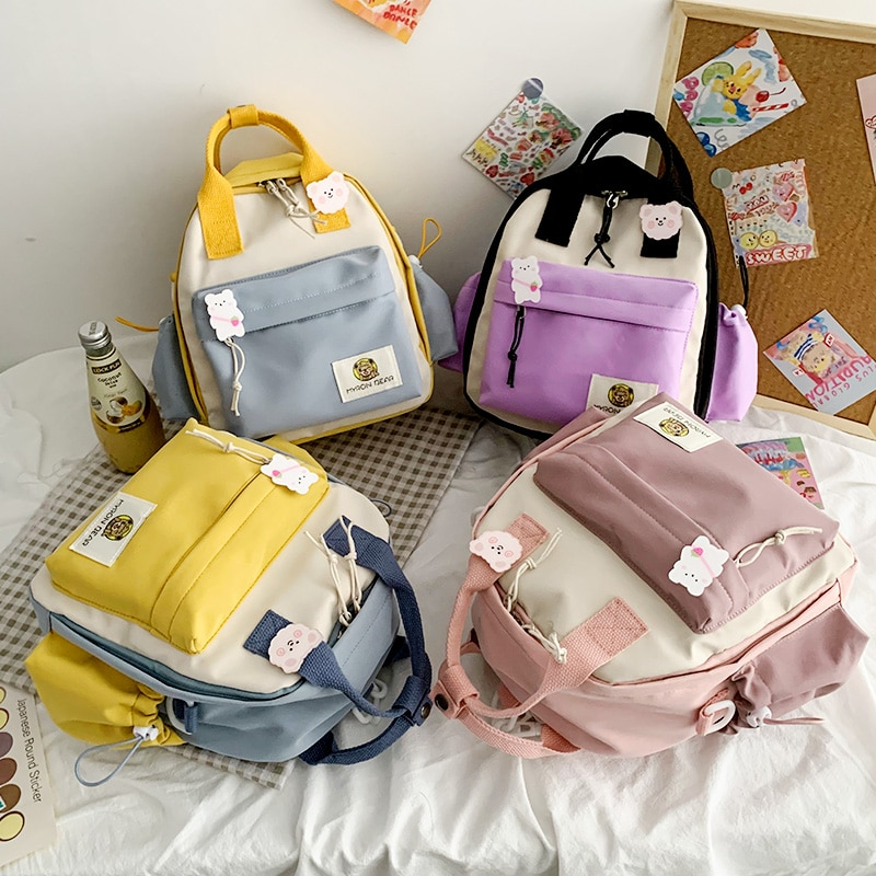 Фото - Cute Contrast Color Small Backpack School Bags Teenager Female Students Waterproof Nylon Travel Backpack Fashion Shoulder Bag 2021 four piece set primary school students grade 3 6 junior high school students color contrast backpack hand bag fashion