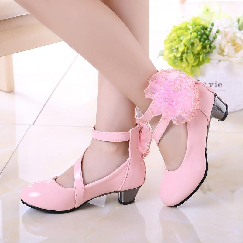 Gran oferta 2020 de zapatos de princesa para niñas, zapatos de lazo de fiesta brillantes de Color rojo sólido, zapatos de tacón alto de moda para talla para niños 26-36