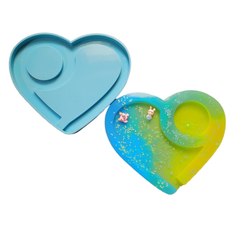 Handmade Fruit Plate Silicone Mould Heart Shaped Tray Epoxy Resin Mold DIY Crafts Casting Tool