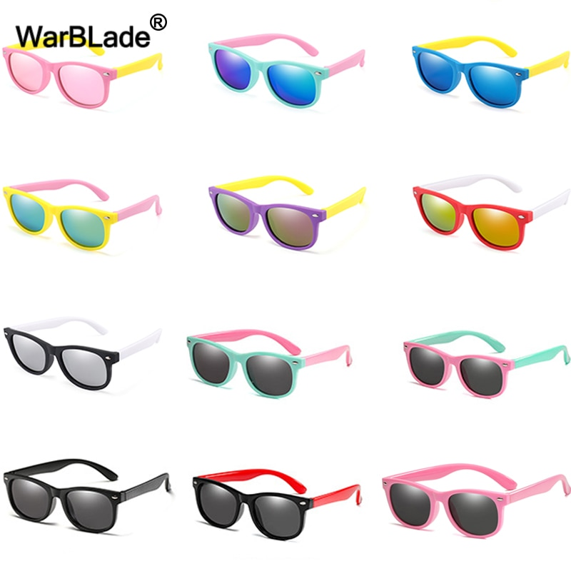 WarBlade Fashion Kids Sunglasses Children Polarized Sun Glasses Boys Girls Glasses Silicone Safety B