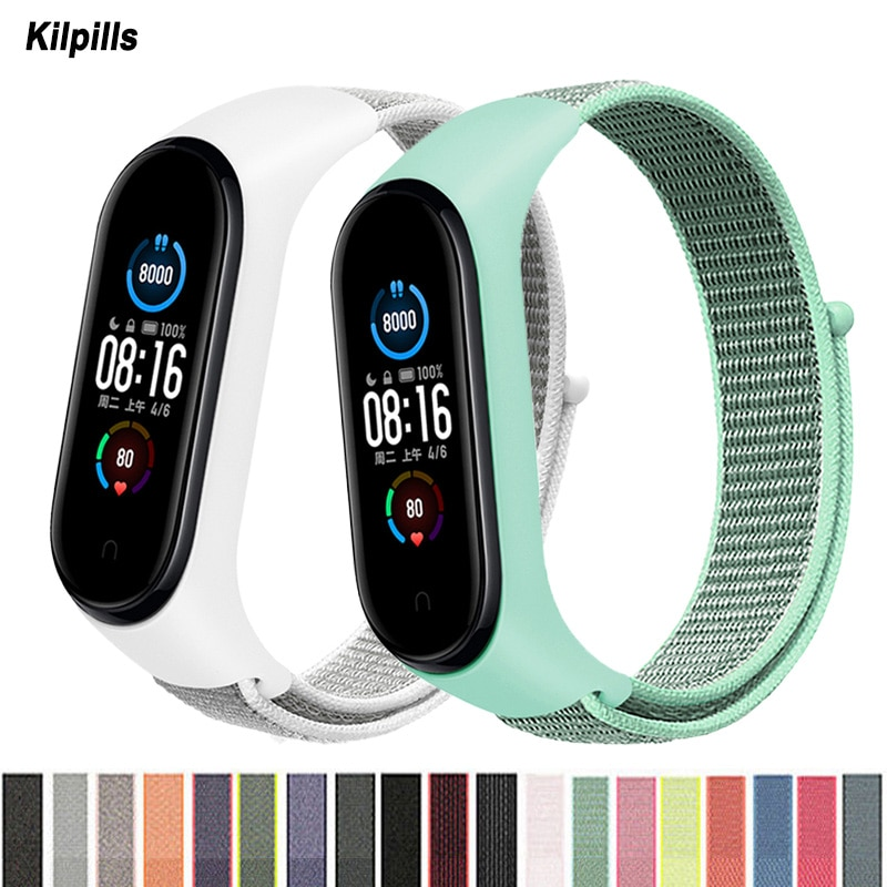 Nylon Strap for mi band 5 Bracelet Sport loop watch Belt pulsera correa Miband strap Wristband for xiaomi Mi band 6 4 3 Bracelet