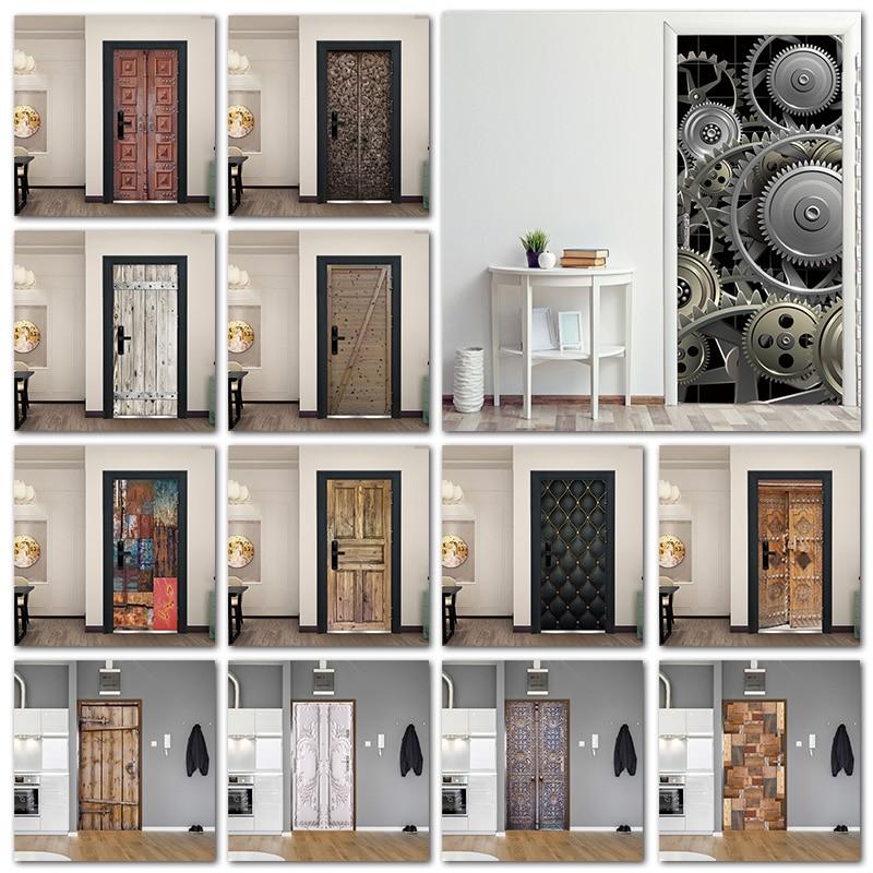 Retro Metal Gear Wallpapers For Living Room Wooden Door Art Door Decoration Sticker Self Stick Renew