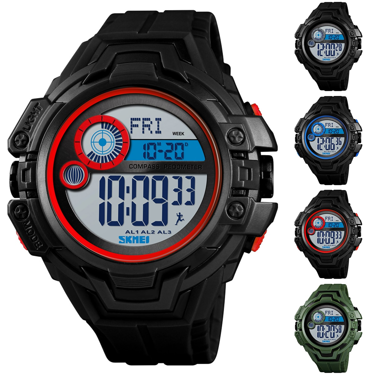Smart Watch 50M waterproof Multi-function Watch EL light Digital Luminous Countdown Wrist Watch Compass Pedometer Sport Watch
