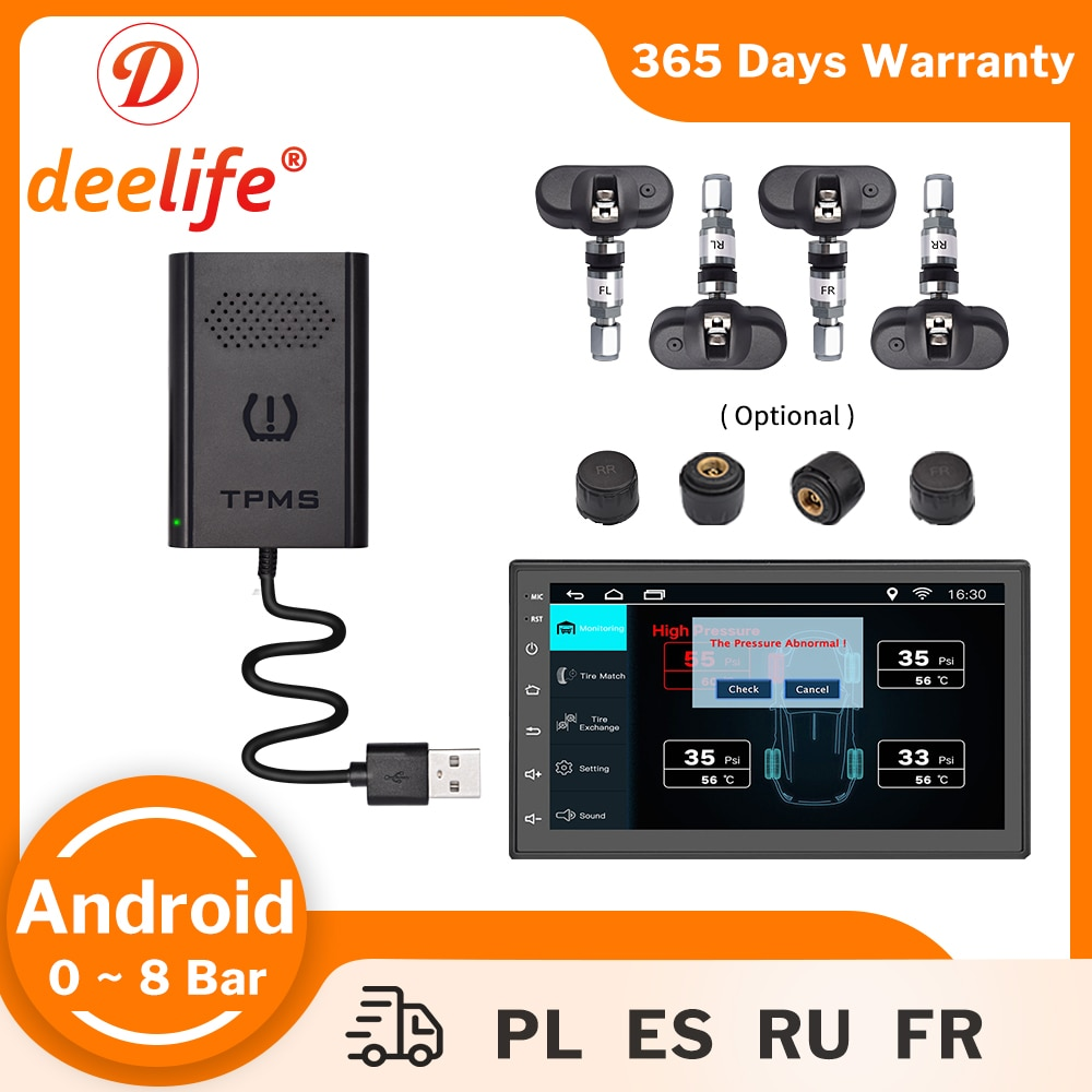 Deelife TMPS Android USB TPMS for Car DVD Player Auto Radio Tire Pressure Monitoring System External Internal Sensor