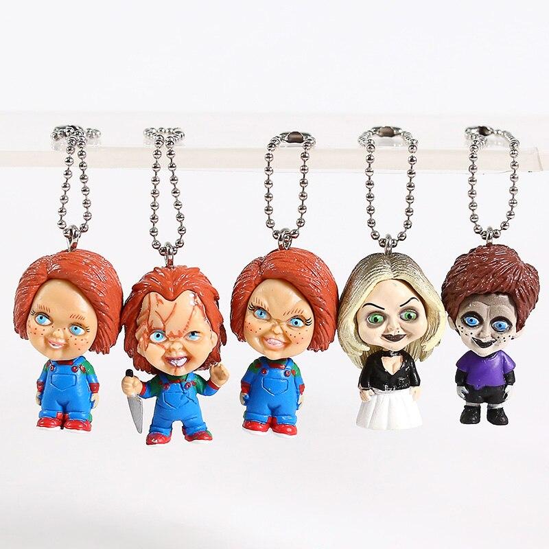 Película de terror es un juego de niños figura novia de Chucky Tiffany Chucky Mini llaveros de colgantes muñeca de juguete figura de acción de PVC Juguetes