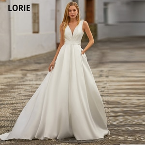 LORIE White Satin Wedding Dresses for Women Beach Boho Bride Gowns Simple Plus Size 2020 V-neck Princess Party Dress Pockates