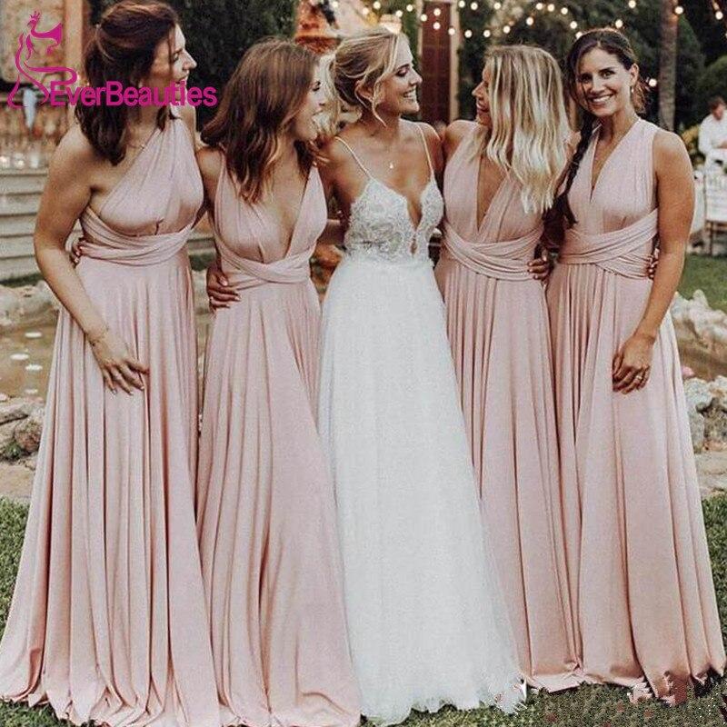 Cheap Long Blush Pink Bridesmaid Dresses 2020 Wedding Guest Dress Vestido De Festa