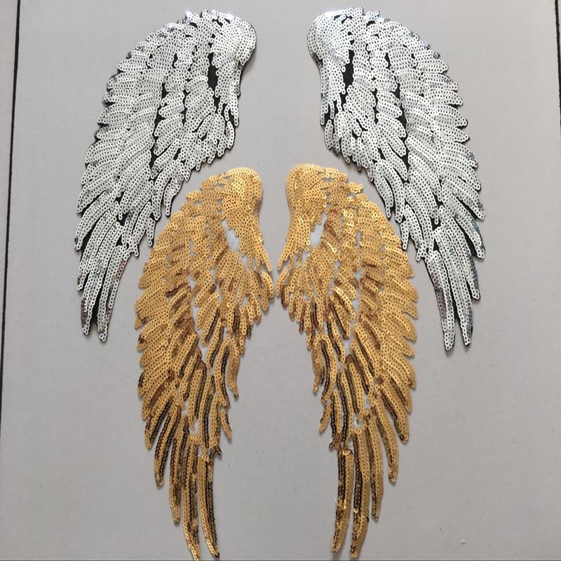 Lentejuelas de arcoíris doradas y plateadas, alas de Ángel con plumas, plancha...