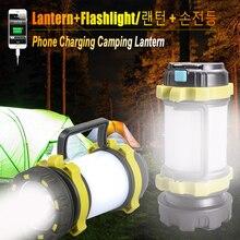 18650 قوة البنك مخيم مصباح LED التخييم ضوء USB مصباح يدوي قابل لإعادة الشحن ضوء العمل الكشاف الشعلة قلادة مصباح يدوي