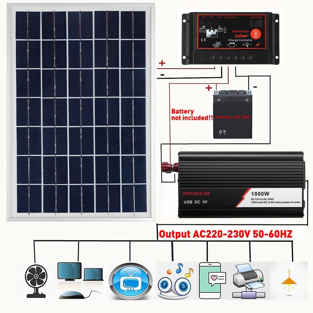 1000 واط نظام لوحات شمسية 50A جهاز التحكم في الشحن 1000 واط الشمسية العاكس عدة كاملة لوحة توليد الطاقة حقيبة