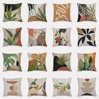 plant pattern plush cushion cover tropical leaf throw pillow cover decor home sofa accessories funda de cojines 4545cm