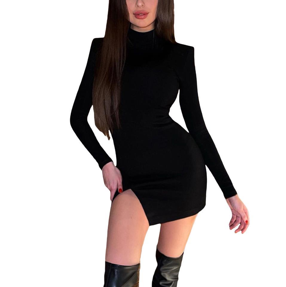 Women Spring Fashion Long Sleeve Shoulder Pads Dress Stylish High Collar Solid Color Split Dress