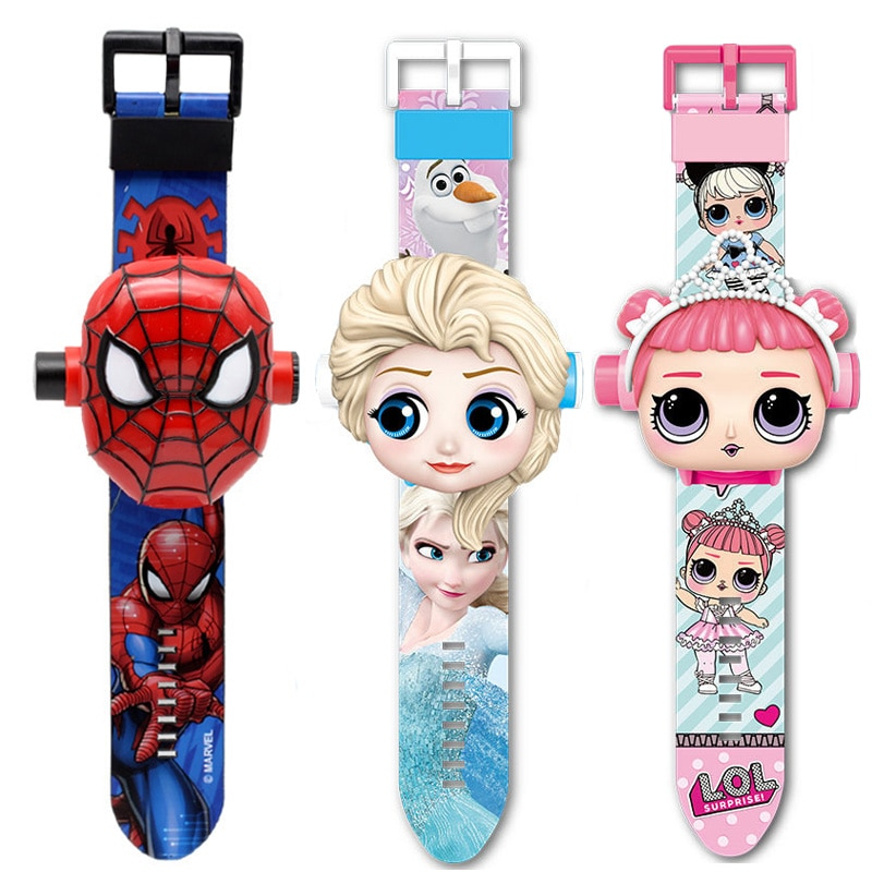 Princess Girls Watches Kids 3D Projection Cartoon Pattern Super Hero Children Watch Boys Digital Wri