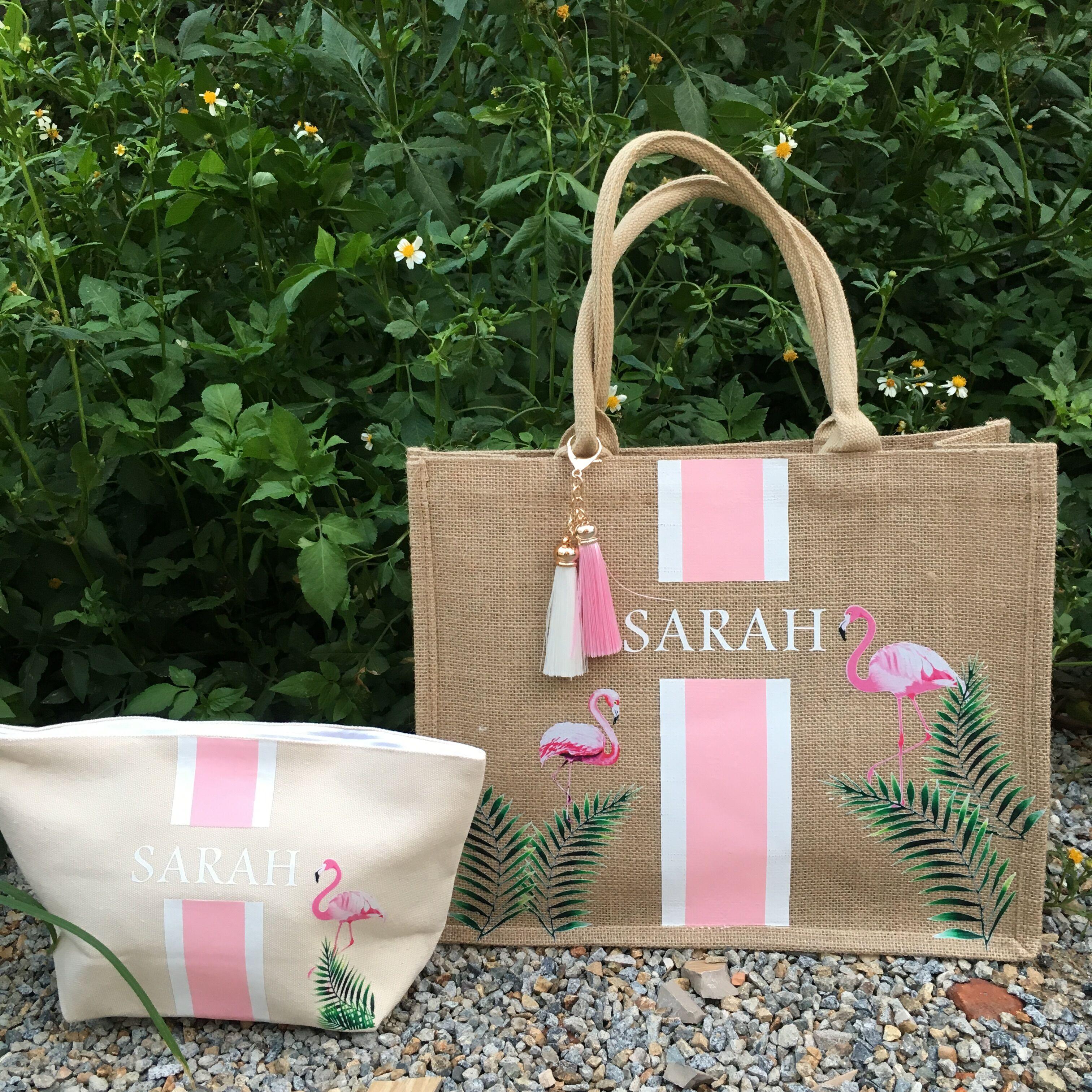 Custom Flamingo Tote Bag Bachelorette Gift Bag Burlap Personalized Beach Tote Tropical Bridesmaid Gift Ideas Beach Tote Bags