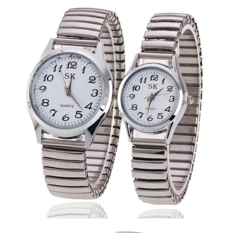 Einzigartige Design Paar Uhren Voll Edelstahl Uhr Frauen Männer Silber Paar der Uhr Quarz Armbanduhr relogio feminino