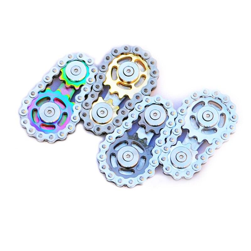Stainless Steel Metal Sprockets Flywheel Fingertip Gyro Sprockets Chains Adult Toy Gear Gyro Sproket Roadbike Spinner Dropship enlarge