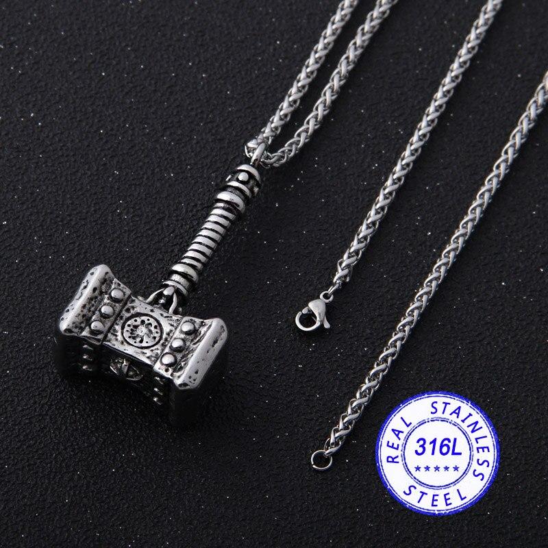Yage 316l inoxidável viking nórdico odin thors mjolnir martelo homem de terremoto colar pingente animal viking jóias