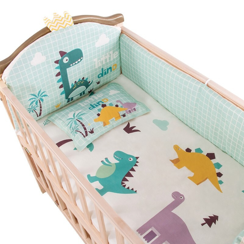 Crib Bedding Set Crib Bumpers Mini Crib Sets Baby Pillow Pure Cotton Toddle Bed Linen Matress Cover for Cot Size 100*56cm