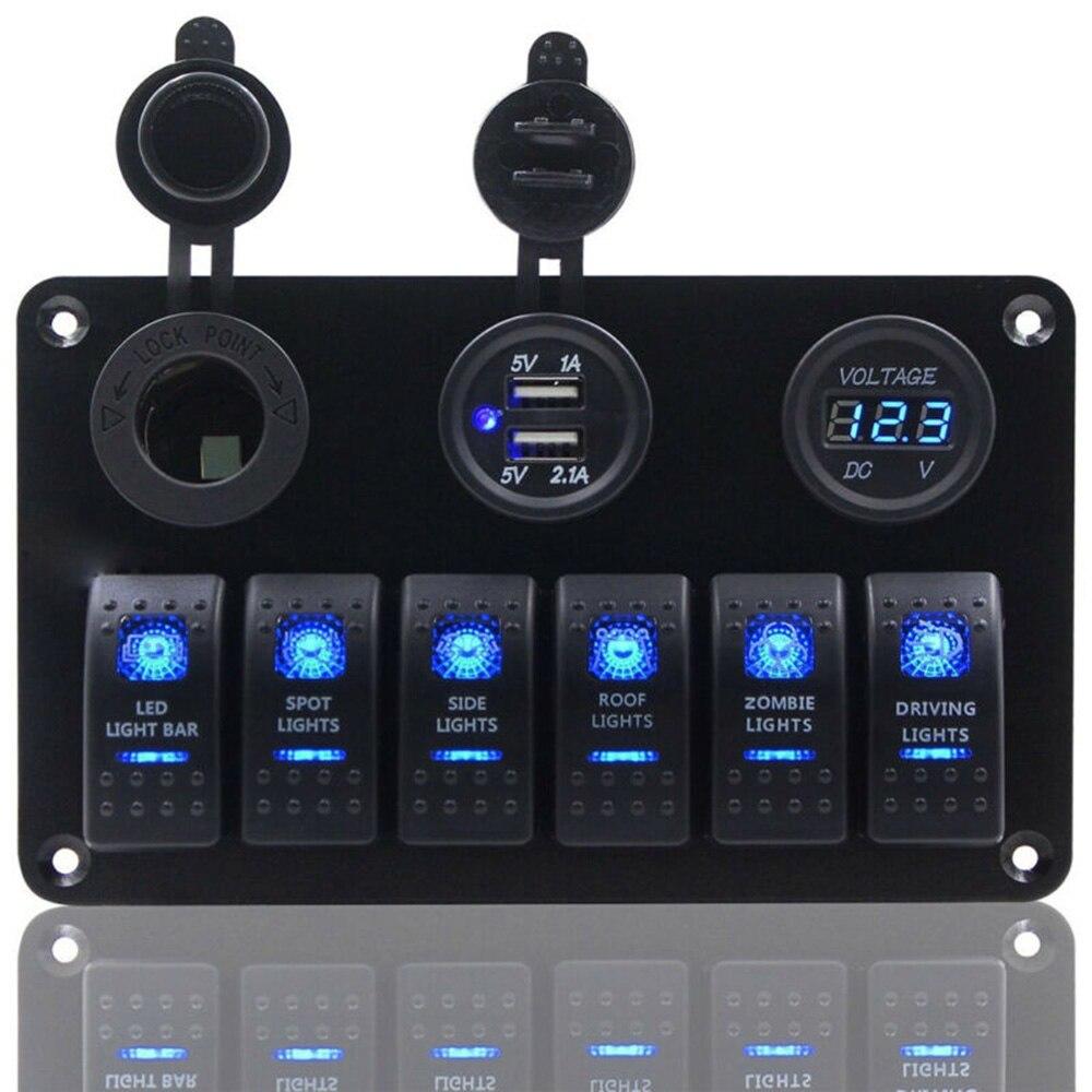 6 банд ВКЛ-ВЫКЛ переключатель панель 2USB 12В-24В розетка зарядное устройство светодиодный вольтметр для автомобиля SUV морской RV грузовик Camper лодка