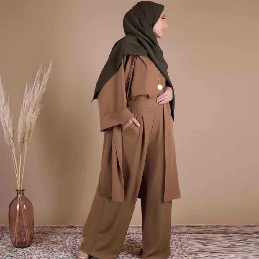 ثلاث قطع عباية إسلامية كيمونو تركي سروال علوي فستان مسلم الحجاب رداء دبي قفطان قفطان إسلامي ملابس تناسب wq2595w