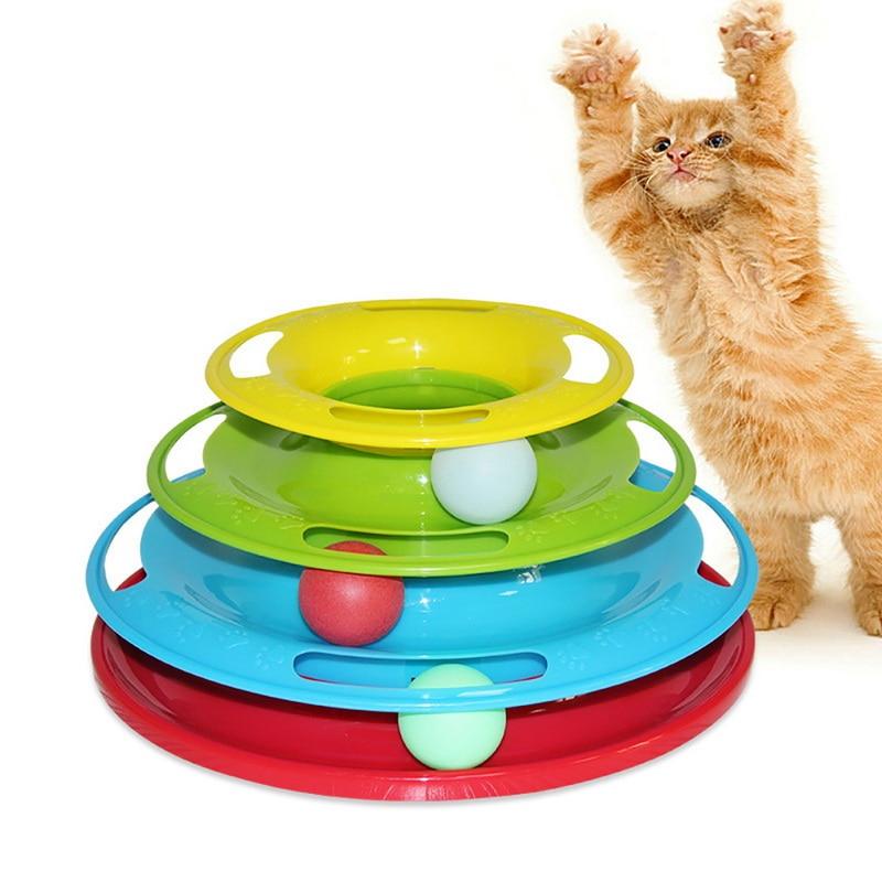 Los tres niveles para mascotas gato juguete Torre huellas de gato de inteligencia de Triple pagar disco gato juguetes de la formación de placa