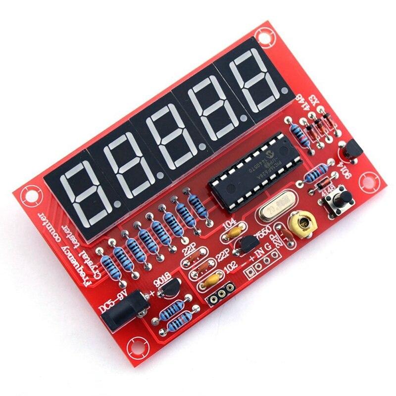 Promoción -- 50 MHz cristal oscilador contadores de frecuencia DIY Kit 5 Resolución Digital Red