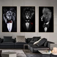funny knight black white animal print canvas painting suit rose flower lion poster wall picture art for aisle parlour decor