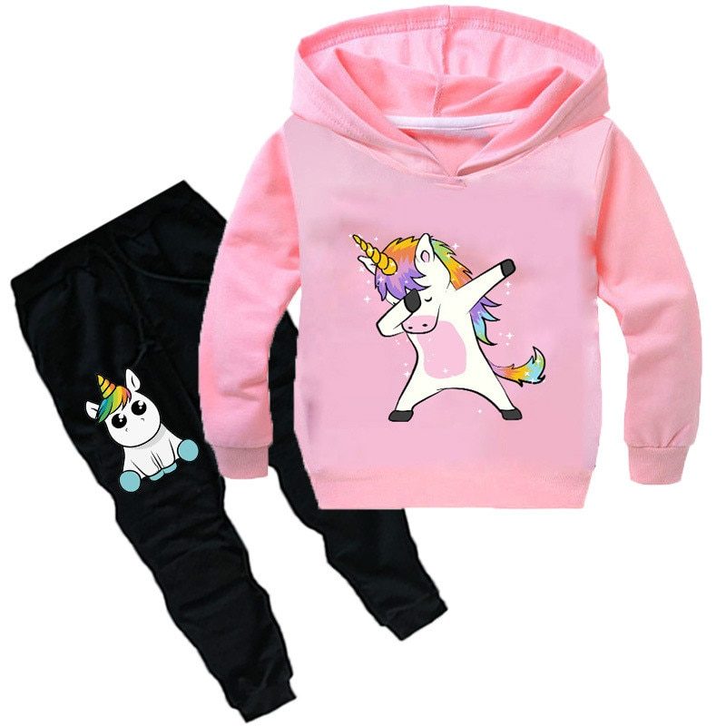 Baby Boys Girls Unicorn Sport Clothing Set Boy Sets Hoody Sweatershirt Pants Toddler Kids Clothes Children Causal Thin Tracksuit