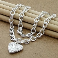 hot selling silver 925 jewelry necklace fashion photo frame heart necklace pendant trendy jewelry