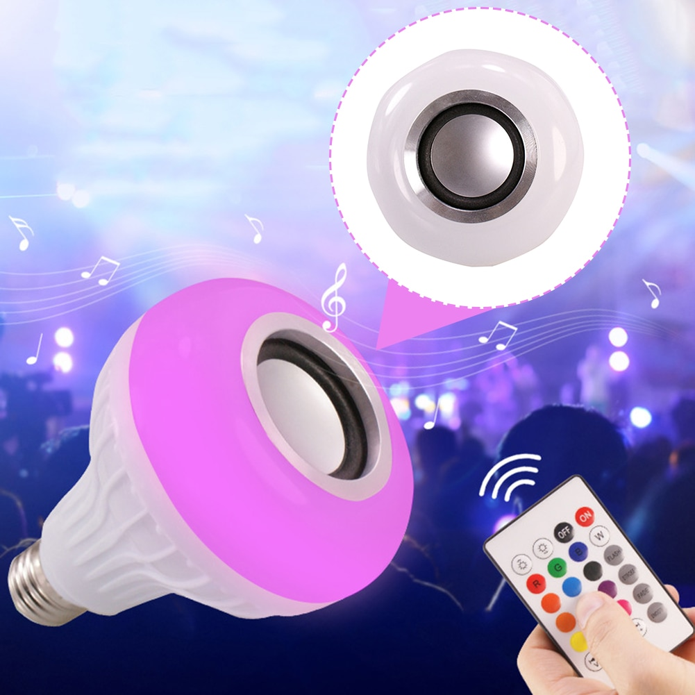 Smart E27 12W Ampoule LED Bulb RGB Light Wireless Bluetooth Audio Speaker Music Playing Dimmable Lamp with 24 Key Remote Control