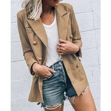 2020 Autumn Women Formal Long Blazer OL Lapel Blazer Coat Winter Double Breasted Long Sleeve Work Wo