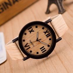 Relogio numerais romanos relógio de madeira banda couro analógico quartzo vogue relógios de pulso simples e elegante luxuoso reloj mujer